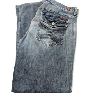 7 For All Mankind Mens Buttonfly Boot Cut Jeans
